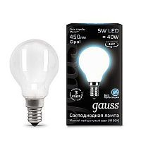 Светодиодная лампа Gauss 105201205 LED Filament Globe OPAL E14 5W 4100K шарик